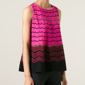 M Missoni Women's Pink Zig Zag Knit Tank Top